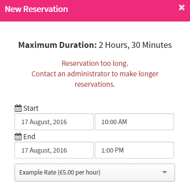 Users are shown an error when attempting to make longer reservations