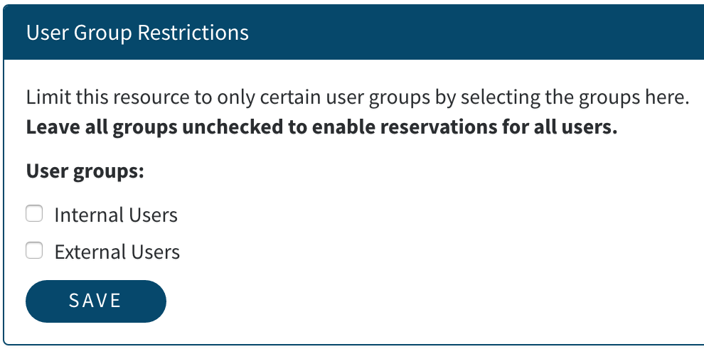 Reservation User Group Option